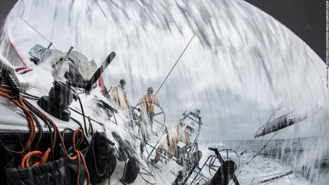 Water from the Atlantic Ocean sprays into the boat of Abu Dhabi Ocean Racing on Friday, May 22, during the seventh leg of the Volvo Ocean Race.