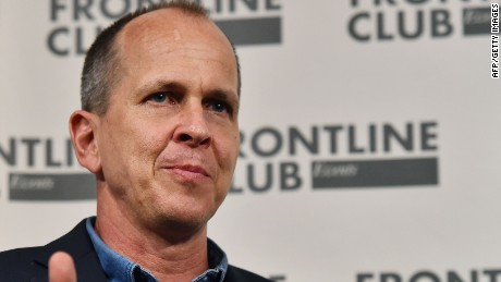 Latvian-Australian journalist Peter Greste speaks during a press conference at the Frontline Club in London on February 19, 2015. Al-Jazeera journalist Greste was released from an Egyptian jail and deported earlier this month after more than a year in prison. AFP PHOTO / BEN STANSALLBEN STANSALL/AFP/Getty Images