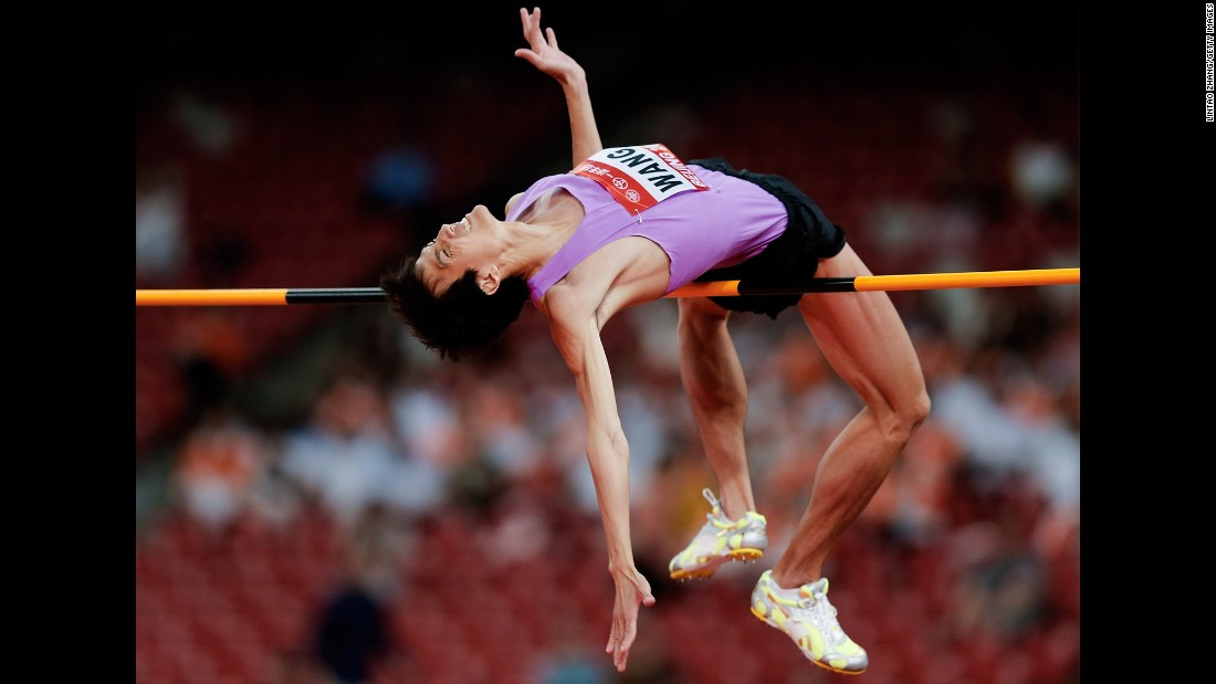 China's Wang Yu competes in the high jump during the IAAF World Challenge event in Beijing on Wednesday, May 20. He won silver in the event, behind his countryman Zhang Guowei.