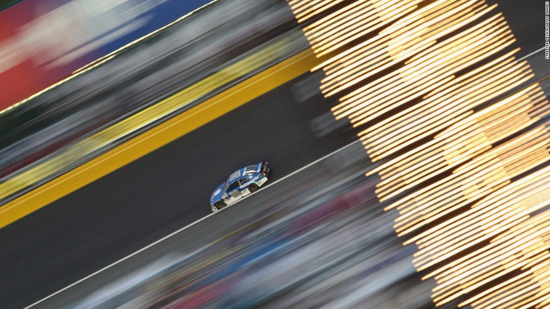 This long-exposure photo shows Dale Earnhardt Jr. during the Coca-Cola 600 on Sunday, May 24. The fan favorite finished third in the race, which was held in Charlotte, North Carolina.