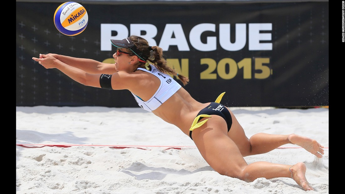 Spain's Angela Lobato dives for a ball Saturday, May 23, during the FIVB Prague Open in Prague, Czech Republic.