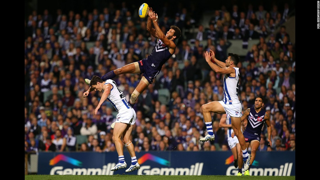 Zac Clarke of the Fremantle Dockers catches the ball Saturday, May 23, during an Australian Football League match in Perth, Australia.