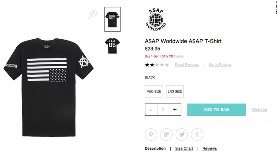 """PacSun stores have reportedly angered some shoppers with this upside-down flag shirt. <a href=""""http://abc7.com/business/pacsun-removes-t-shirt-over-american-flag-controversy/741764/"""" target=""""_blank"""">CNN affiliate KABC-TV reports</a> that the company removed the $24 item -- which is a part of rapper A$AP Rocky's clothing line -- after a customer started #BoycottPacSun on social media. In a statement to KABC, PacSun said it values artistic and creative expression, but """"out of respect for those who have put their lives on the line for our country, we have decided to stop selling the licensed flag T-shirt and are removing it from our stores and website immediately."""""""