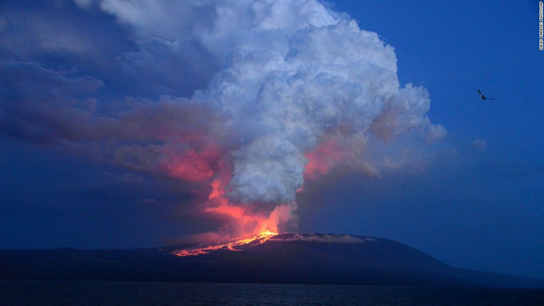 "The Wolf volcano at Isabela Island -- the largest of the Galapagos Islands west of mainland Ecuador -- erupts May 25, 2015 <a href=""http://www.cnn.com/2015/05/26/americas/galapagos-volcano-erupts/"">for the first time in 33 years.</a>"
