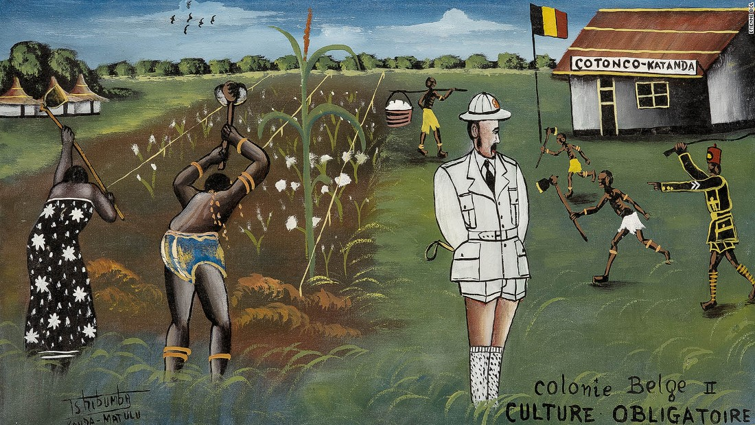'Colonie Belge' is a sub-genre that developed within the Lumumbashi art movement of the 70s. Paintings typically show Congolese people suffering graphic violence at the hands of Congolese prison officers or police while the white Belgian officer casually looks on.<em>Colonie Belge II, Culture Obligatoire. Tshibumba Kanda-Matulu. 40 x 68cm, Acrylic on canvas.</em>