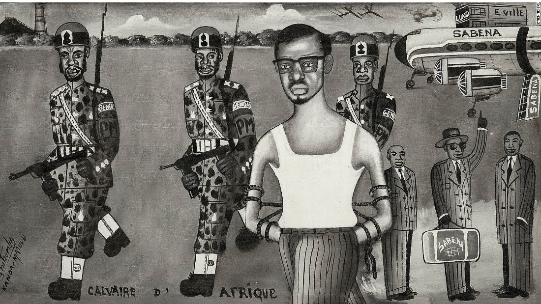 The government of Patrice Lumumba lasted just 10 weeks, as first the province of Katanga declared its independence with Belgian support, and then an army coup led to Lumumba's arrest.<em><br />Calvaire d'Afrique,Tshibumba Kanda-Matulu. 40.5 x 74.5cm, Acrylic on canvas.</em>