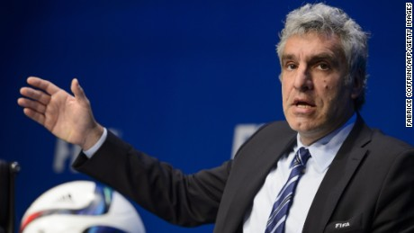 FIFA spokesman Walter De Gregorio gives a press conference at the FIFA headquarters, on May 27, 2015 in Zurich. Swiss police on Wednesday raided a Zurich hotel to detain six top football officials as part of a US investigation into tens of millions of dollars of bribes paid to sport leaders, Swiss authorities and media reports said.
