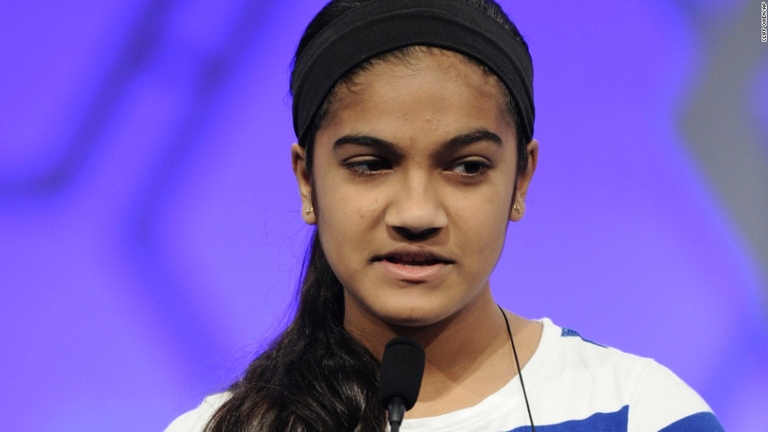 "Vanya Shivashankar, of Olathe, Kansas, spells the word ""pistachio"" on May 27. She was co-winner of the 2015 bee. The last word she spelled was ""scherenschnitte."""