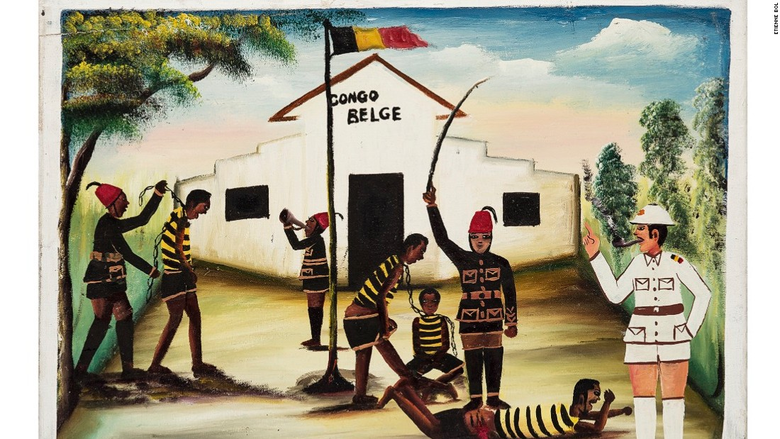 A new exhibition, 53 Echoes of Zaire, depicts the history of the Democratic Republic of Congo (DRC), formerly known as Zaire. A former Belgian colony, native people suffered greatly at the hands of their colonial masters.<em><br />Congo Belge II, Kalema. 52.5 x 69cm, Acrylic on canvas.</em>