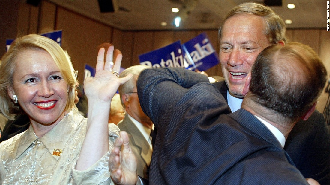 Pataki, right, and his wife Libby greet the crowd before making his acceptance speech at a nomination meeting of the 2002 New York Republican State Committee Convention May 29, 2002 in New York City.
