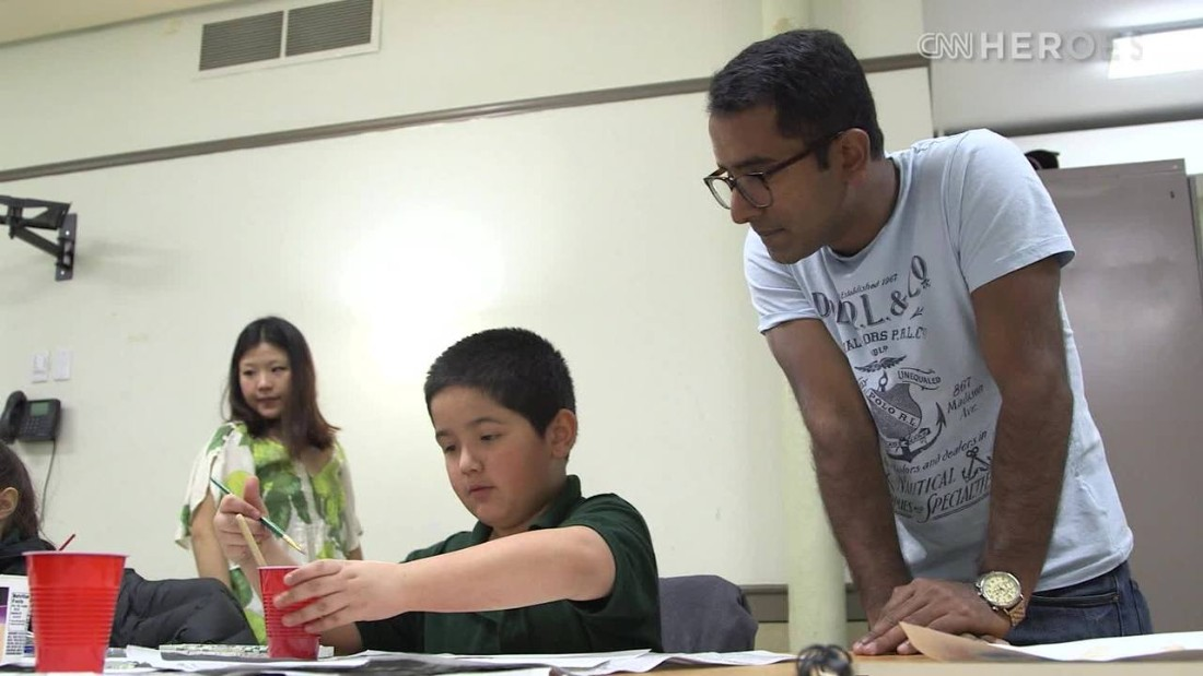 """<a href=""""http://www.cnn.com/2015/05/28/us/cnn-heroes-alphons/index.html"""" target=""""_blank"""">Artist Adarsh Alphons'</a> nonprofit, ProjectArt, provides free arts classes for New York City public school children. Once expelled from school for doodling, Alphons eventually presented his work to the late world leaders Nelson Mandela and Pope John Paul II."""