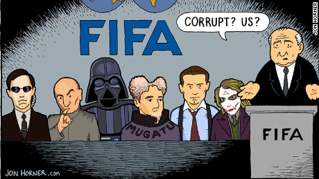 Cartoonist Jon Horner's interpretation of the FIFA scandal.