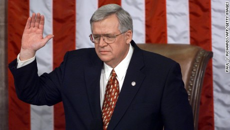 Caption:WASHINGTON, : Congressman Dennis J. Hastert (R), R-IL, is sworn-in as Speaker of the House of Representatives 06 January during the 1999 opening session of the House on Capitol Hill in Washington, DC. As the 106th Congress opened, Hastert replaces Newt Gingrich. (ELECTRONIC IMAGE) AFP PHOTO/ Paul J. RICHARDS (Photo credit should read PAUL J. RICHARDS/AFP/Getty Images)