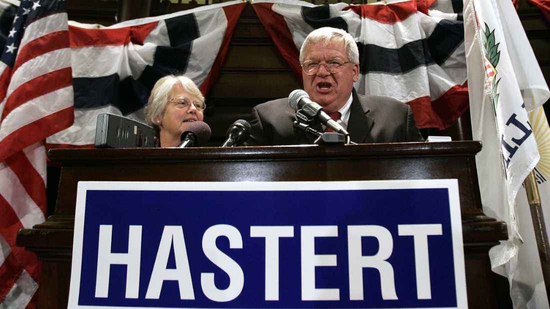 Hastert celebrates his re-election to an 11th term in Congress on November 7, 2006, with his wife, Jean, at a victory party in the Baker Hotel in St. Charles, Illinois. Republicans lost their majority in the House, meaning Hastert lost his position as speaker when the new Congress started on January 4, 2007.