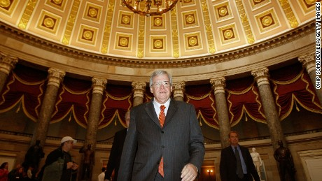 Hastert ( walks through Statuary Hall on his way to the House floor to make his farewell address to Congress on November 15, 2007 in Washington.  He formally resigns on November 26, 2007 after 20 years in office.