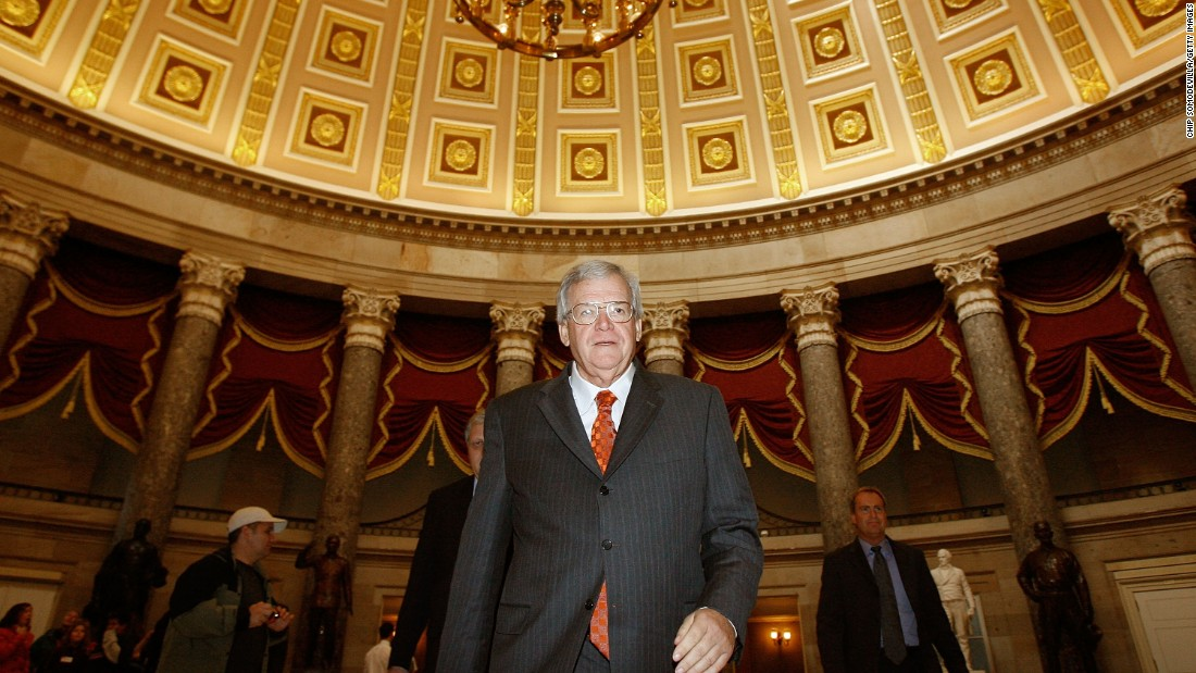 Hastert walks through Statuary Hall on his way to the House floor to make his farewell address to Congress on November 15, 2007.  He formally resigned on November 26, 2007, after 20 years in office.