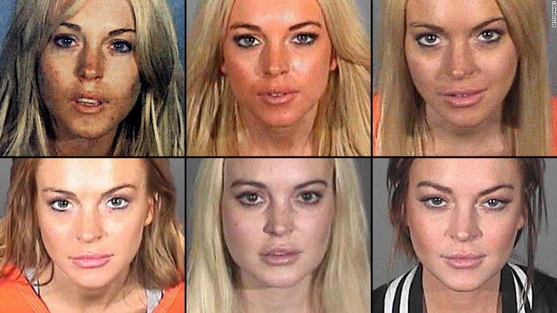 Actress Lindsay Lohan has had numerous legal troubles over the past eight years, including arrests for drunken driving, reckless driving and shoplifting. Here are six of her booking mug shots, from top left to bottom right: July 2007, November 2007, July 2010, September 2010, October 2011 and March 2013. Lohan is finally off probation after completing 125 hours of community servce.