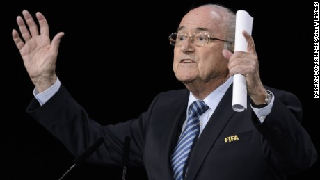 "FIFA president Sepp Blatter gestures as he delivers his speech ahead of the vote to decide on the FIFA presidency in Zurich on May 29, 2015.  Blatter vowed in his speech to lead FIFA ""out of the storm"" if re-elected president. AFP PHOTO / FABRICE COFFRINI        (Photo credit should read FABRICE COFFRINI/AFP/Getty Images)"