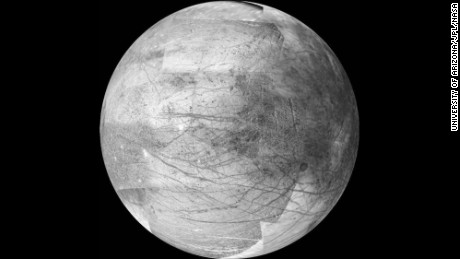 Jupiter's icy moon Europa may be the best place in the solar system to look for extraterrestrial life, according to NASA. The moon is about the size of Earth's moon and there is evidence it has an ocean beneath its frozen crust that may hold twice as much water as Earth. NASA's 2016 budget includes a request for $30 million to plan a mission to investigate Europa. The image above was taken by the Galileo spacecraft on November 25, 1999. It's a 12-frame mosaic and is considered the the best image yet of the side of Europa that faces Jupiter.