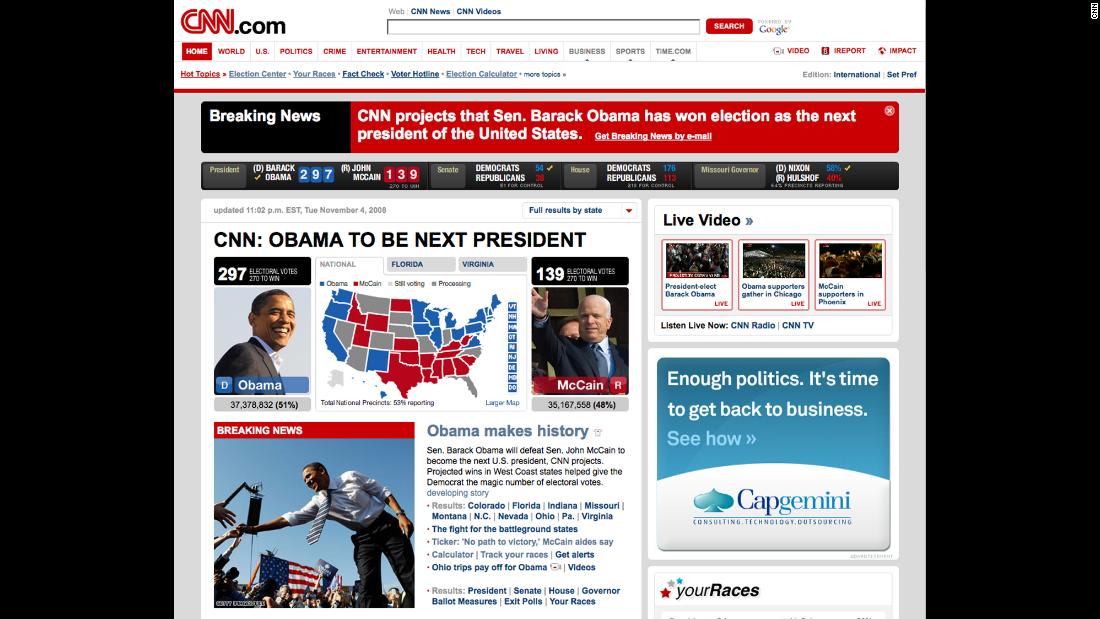 CNN homepage, 2008.