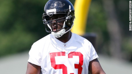 FLOWERY BRANCH, GA - MAY 16: Rookie linebacker Prince Shembo #53 of the Atlanta Falcons runs drills during rookie minicamp at the Atlanta Falcons Training Facility on May 16, 2014 in Flowery Branch, Georgia. (Photo by Kevin C. Cox/Getty Image
