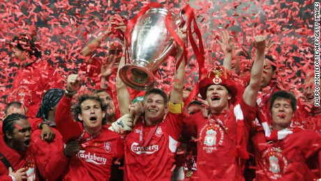 Liverpool players celebrate their 2005 success in Istanbul.