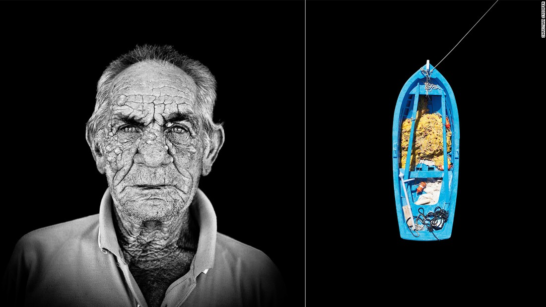 Yannis Perantinos, left, is one of the many fishermen documented by photographer Christian Stemper on the Greek island of Paros. Stemper took portraits of the fishermen as well as overhead views of their fishing boats.