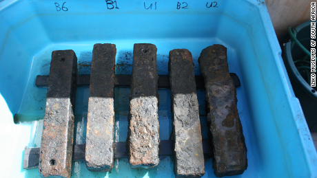 An iron ballast was recovered from the Sao Jose slave ship wreck. The ballast helped to weigh down the slave ship and its human cargo.