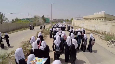 gaza school girls walk home drone natpkg_00001018