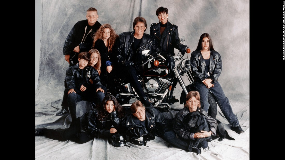 The Jenner-Kardashian family poses for a portrait in 1993. Kris and Jenner each had four children when they were married. Clockwise from top left, the kids are Burton Jenner, Khloe Kardashian, Kim Kardashian, Brandon Jenner, Brody Jenner, Kourtney Kardashian, Cassandra Jenner and Rob Kardashian.