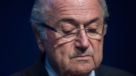 FIFA President Sepp Blatter looks down during a press conference at the headquarters of the world's football governing body in Zurich on June 2, 2015.