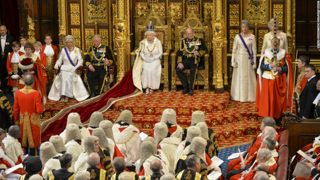 The Queen waits to give her speech during the State Opening of Parliament on May 27, 2015.