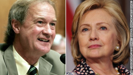 Chafee bashes Clinton on war, promotes metric system
