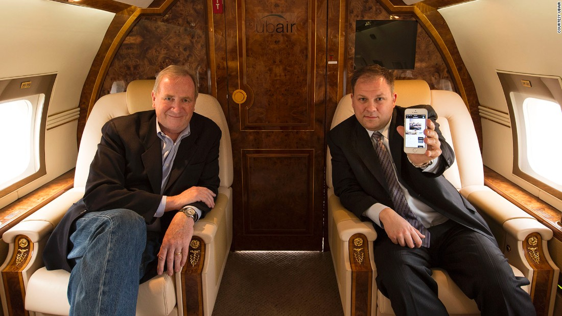 Co-founders of Ubair, Justin Sullivan and David Tait (ex-Virgin Atlantic), aboard one of their fleet. Catering to the full spectrum of business charters, the company offers everything from Cessnas to Gulfstream IVs.