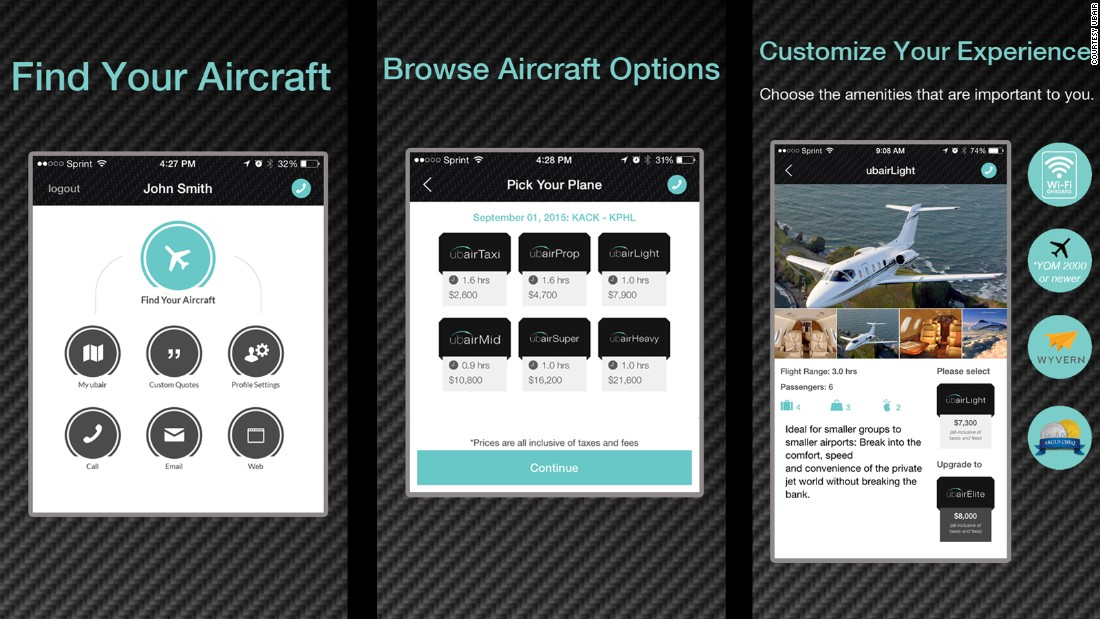 Like Jetsmarter and Victor, Ubair utilizes an app that customers can use to customize their flying experience.