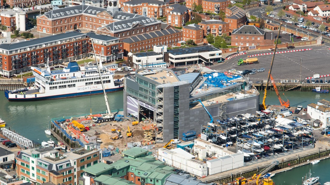 An aerial view of the $23 million headquarters being built in Portsmouth, England to house the British team in the build-up to the 2017 event.
