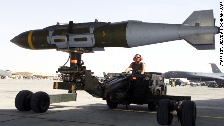 A weapons loader prepares a 2,000-pound GBU-31 joint direct attack munition for a mission during Operation Iraqi Freedom.