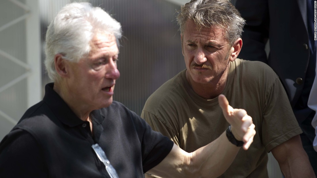 Clinton and actor Sean Penn visit a cholera treatment center in Port-au-Prince, Haiti, in February.