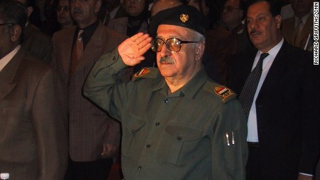 Tariq Aziz seen here at an Iraqi government meeting in Baghdad in 2002.