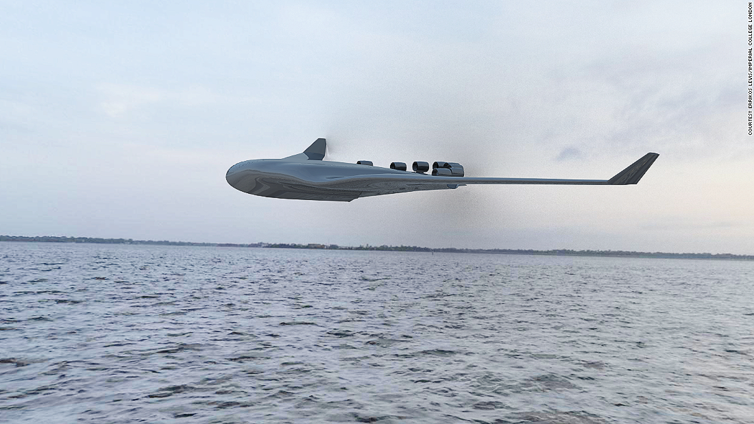 Also in 2015, Errikos Levis of Imperial London College designed a concept for a family of transatlantic seaplanes that could carry up to 2,000 passengers. The plane would feature a blended wing body, and the engine would live on top of the plane.