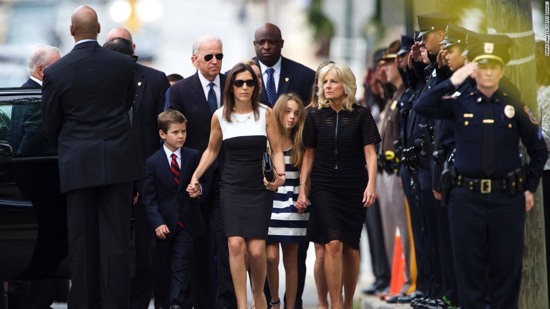 Vice President Joe Biden and his wife Dr. Jill Biden arrive with family for the funeral on June 6.