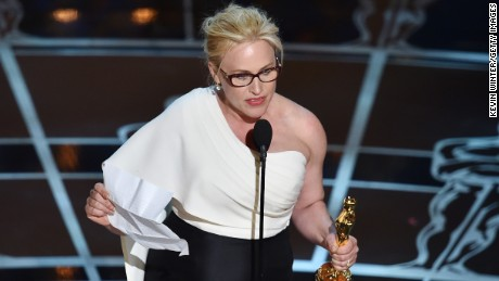 "Patricia Arquette accepts the best supporting actress Oscar for her role in ""Boyhood"" at the 2015 Academy Awards."