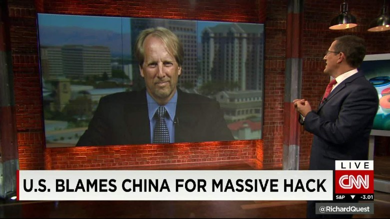 U.S. blames China for hack