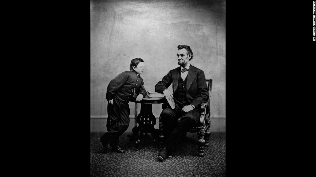 Lincoln with his son Tad on February 5, 1865. The photo was taken by Alexander Gardner.