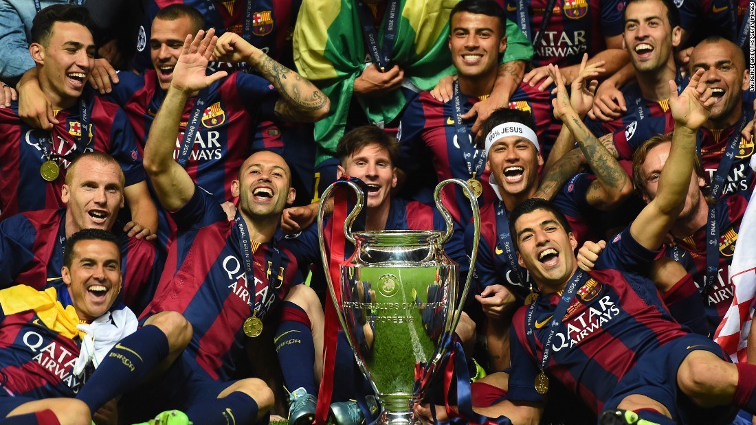 "Barcelona players celebrate after they defeated Juventus 3-1 in the <a href=""http://www.cnn.com/2015/06/06/football/champions-league-juventus-barcelona/index.html"" target=""_blank"">UEFA Champions League final</a> on Saturday, June 6. It is the fifth time in history that the Spanish club has been crowned kings of European soccer."