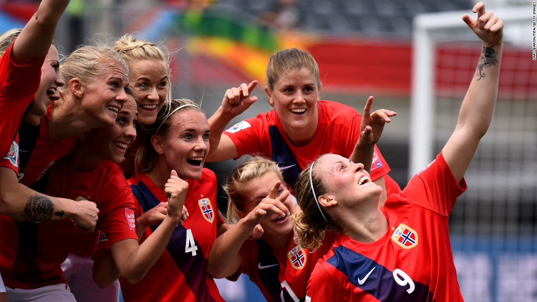 Norway's Isabell Herlovsen celebrates one of her goals with a fake selfie during a Women's World Cup match against Thailand on Sunday, June 7. Herlovsen scored twice in the match, which Norway won 4-0 in Ottawa.