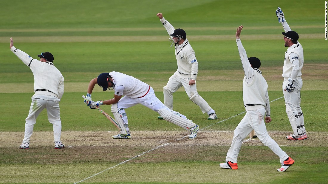 New Zealand cricketers appeal for a leg-before-wicket decision on England's Alastair Cook on Tuesday, June 2, during the second Test match between the two countries in England. Cook was dismissed, and New Zealand won the match by 199 runs.