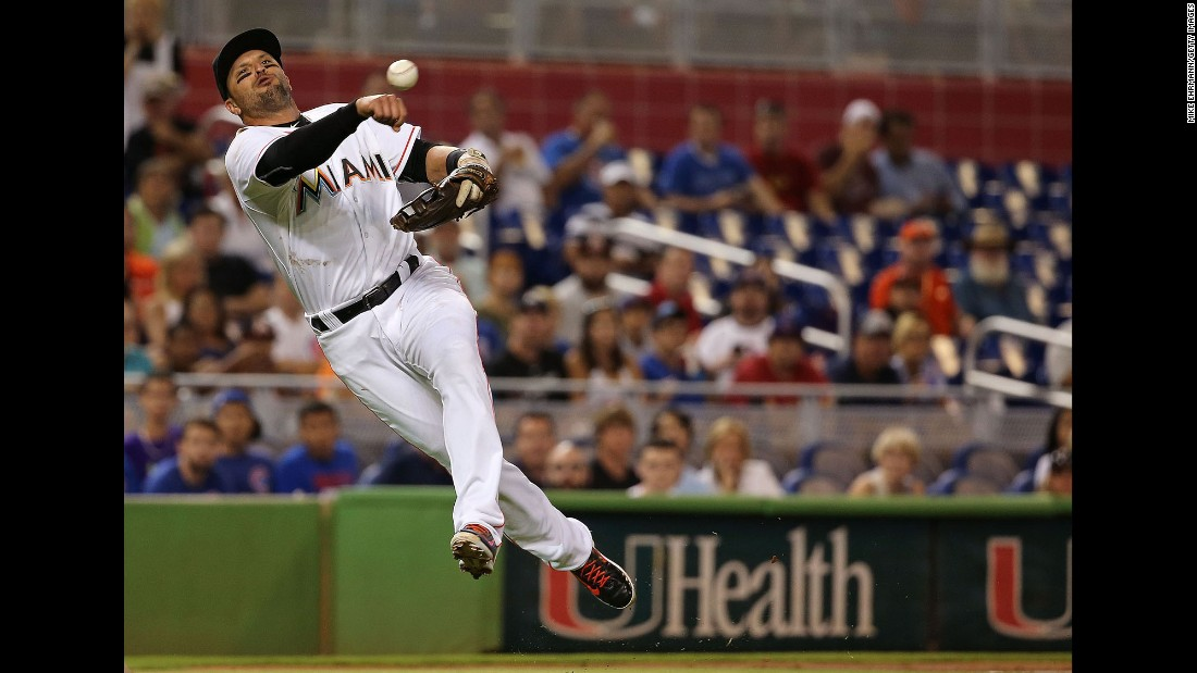 Miami third baseman Martin Prado throws to first during a home game against the Chicago Cubs on Wednesday, June 3.