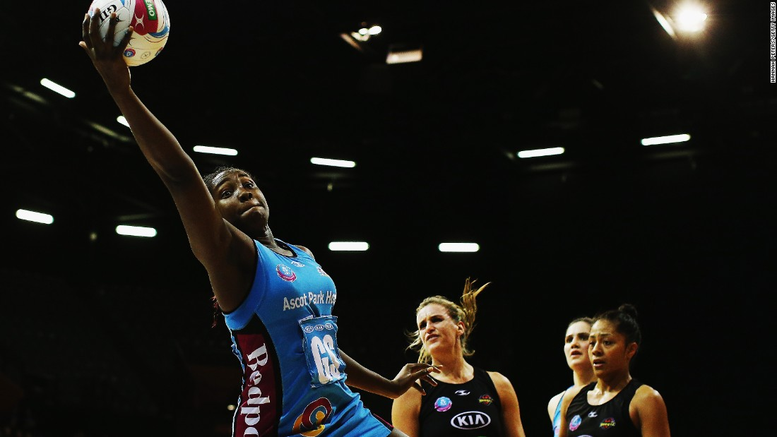 Netball player Jhaniele Fowler-Reid secures possession for the Southern Steel during an ANZ Championship match Saturday, June 6, in Hamilton, New Zealand. The Steel were eliminated from the league's finals series by the Waikato Bay of Plenty Magic.