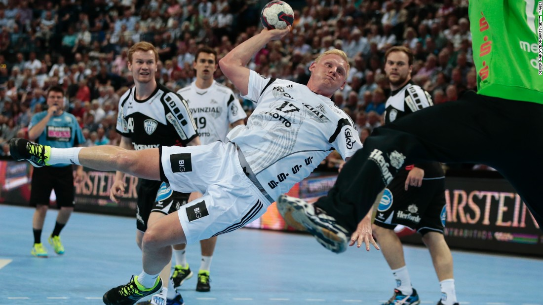 Kiel handball player Patrick Wiencek loads up a shot during a Bundesliga match in Kiel, Germany, on Friday, June 5.